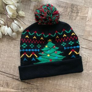 Christmas Tree Light-up Black Beanie